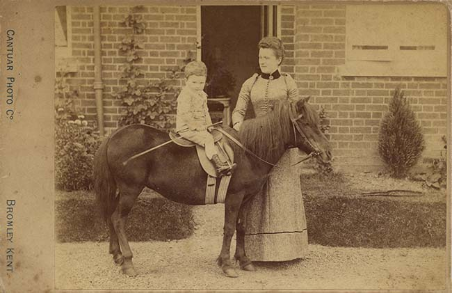 Trevor Hodgson Stanley Tatham on pony with his mother